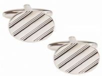 Dalaco 90-1272 Rhodium Plated Oval Full Line Design Cufflinks